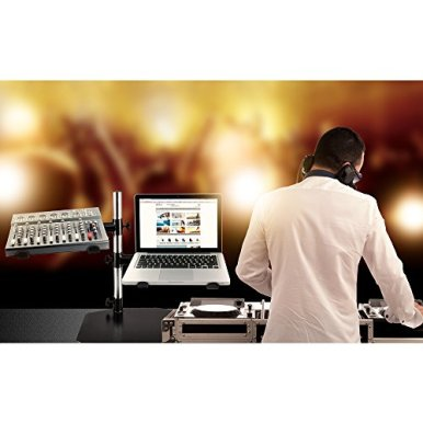 Pyle-Portable-Dual-Laptop-Stand-Universal-Standing-Table-Holder-with-Bracket-Arms-Adjustable-Height-and-Ergonomic-Design-for-DJ-Mixer-Sound-Equipment-Workstation-Gaming-and-Home-Use-PLPTS45