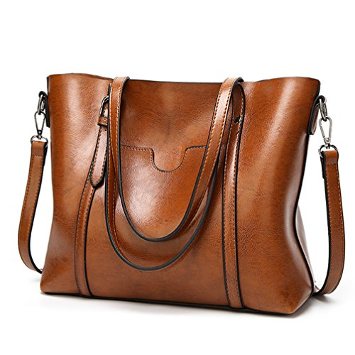 """MATERIAL: High Quality Greased Leather CLOSURE: Top Zipper Closure DIMENSIONS: 13""""L x 5.2""""W x 11.4""""H, Strap Drop Length: 9.1"""""""