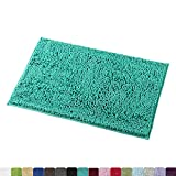 "MAYSHINE Non-Slip Bathroom Rug Shag Shower Mat Machine-Washable Bath Mats with Water Absorbent Soft Microfibers, 20"" W x 32"" L, Turquoise"