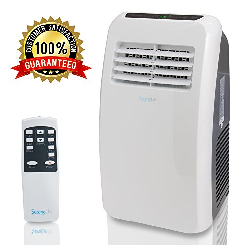 Portable Electric Air Conditioner Unit - 900W 8000 BTU Power Plug In AC Cold Indoor Room Conditioning System w/ Cooler, Dehumidifier, Fan, Exhaust Hose, Window Seal, Wheels, Remote - SereneLife SLPAC8