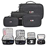 BUBM 4Pcs/Set Computer Cable Electronic Organizer Travel Packing Gadgets Bag Pouch for Cables,External Flash Drive,Mouse,Memory Card,Power Bank