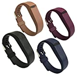4PCS EPYSN Compatible Fitbit Flex Band,Silicone Replacement Wristband For Fitbit Flex Bracelet Sport Bands with Metal Watch Band Buckle Large/Small Black-Navy-Brown-Purple