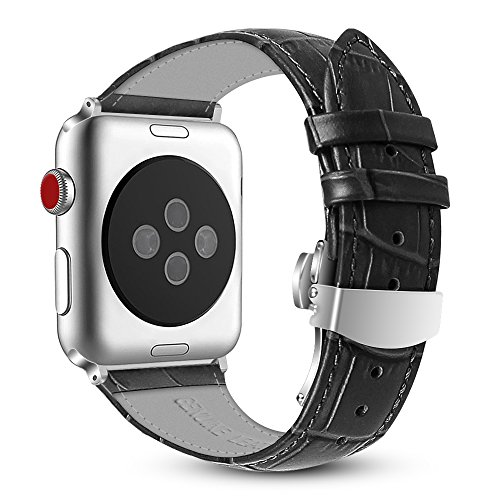 Fintie Leather Band for Apple Watch 44mm 42mm, Replacement Wrist Bands with Adjustable Butterfly Buckle Compatible with Apple Watch Series 4 Series 3 Series 2 Series 1 - Black