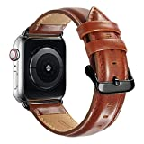 Compatible Apple Watch Band 44mm 42mm, MAPUCE Classic Style Genuine Leather Iwatch Bands with Stainless Metal Buckle Replacement Strap Compatible Apple Watch Series 4&3&2&1 with Black Adapter,Brown