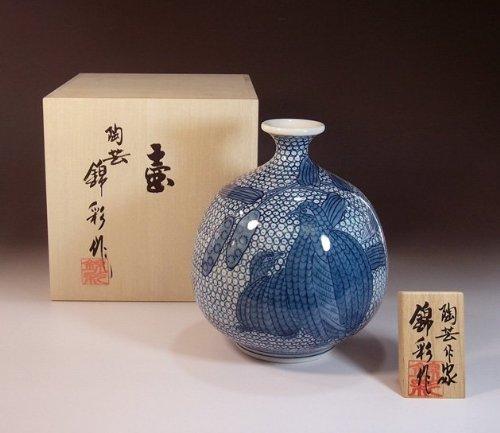 Arita - Imari pottery vase   luxury gifts   Gifts   souvenir   gift   Some-zukeuzura - potter Fujii NishikiAya