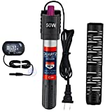 50W Aquarium Heater Submersible Fish Tank Heater with Protective Sleeve & Suction Cup,Explosion-Proof and Auto Thermostat