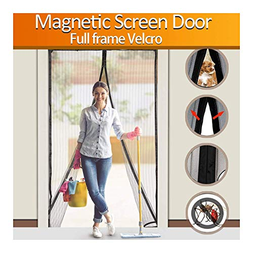 FYLINA Magnetic Screen Door Heavy Duty Mesh Curtain Screen and Full Frame Velcro, Top-to-Bottom Seal No Mosquitos - Fits Door Up To 34' x 82' MAX