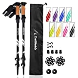TrailBuddy Trekking Poles - 2-pc Pack Adjustable Hiking or Walking Sticks - Strong, Lightweight Aluminum 7075 - Quick Adjust Flip-Lock - Cork Grip, Padded Strap - Free Bag, Accessories (Raven Black)