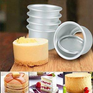 Gemini_mall® 5pcs Non-Stick Round Cake Tin Set With Loose Base for Wedding/Birthday/Christmas Cake Baking 51ssj9hOmqL