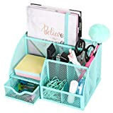 Exerz Mesh Desk Organizer Office with 6 Compartments + Drawer/Desk Tidy Candy/Pen Holder/Multifunctional Organizer EX348 Turquoise