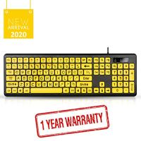 UBOTIE Large Print Computer Keyboard with Yellow Keys and Black Letters, Wired USB Keyboards for Visually Impaired Low…