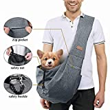 TOMKAS Small Medium Dog Cat Carrier Sling Pet Puppy Outdoor Travel Bag Tote with Mesh and Pocket (Grey for 8-15 lbs)