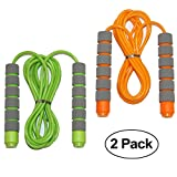 Adjustable Soft Skipping Rope with Skin-friendly Foam Handles for Kids, Children, Students and Adults - Orange & Green-Adjustable Soft Skipping Rope with Skin-friendly Foam Handles for Kids, Children,