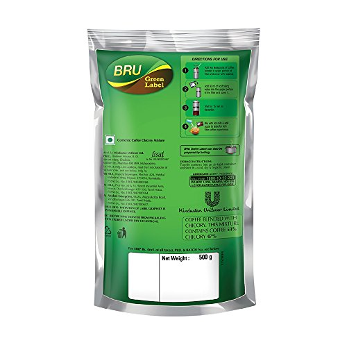 51subbM407L - Bru Green Label Filter Coffee - Ground & Roast, 500 g