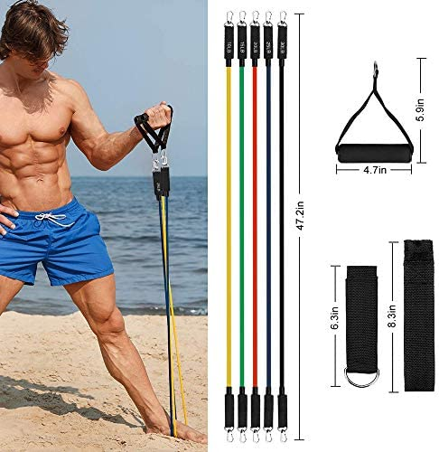 Lxuemlu 【2020 Upgraded】 Resistance Bands Set with Handles, Door Anchor, Ankle Straps and Workout Guide Exercise Bands for Men Women Resistance Training, Home Workouts 4
