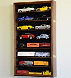 Large 1/24 Scale Diecast Model 16 Cars Display Case Cabinet Holder Holds 16 Cars 1:24 (Walnut Finish)