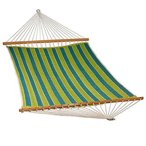 """The Hamptons Collection 82"""" x 55"""" Blue and Green Reversible Striped Quilted Hammock"""