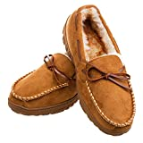Men's Moccasin Slippers Warm Comfortable Memory Foam Plush Lining Anti Slip Indoor Outdoor Driving Loafers Shoes (10 M US Men, Light Brown)