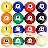 Felson Billiard Supplies Precision Engineered Billiard Balls - Full Set of 16 Balls for Pool Tables, Includes Eight Ball & White Cue Ball