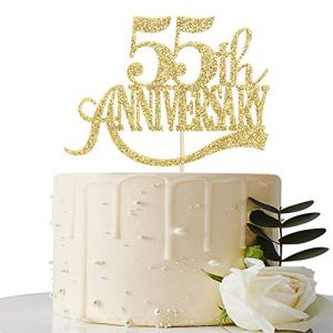 Gold Glitter 55th Anniversary Cake Topper – for 55th Wedding Anniversary / 55th Anniversary Party / 55th Birthday Party Decorations 51t MiO1v8L