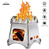Overmont Folding Wood Stove Camping Stove Stainless Steel Compact Lightweight for Outdoor Picnic Traveling Backpacking Camping