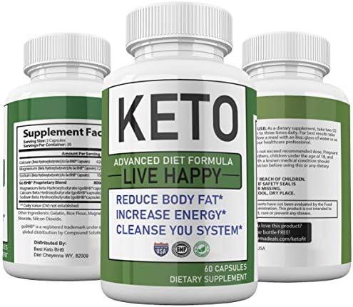 Trim Fast Keto Keto Advanced Diet Pills Live Happy, Trim Fast Keto Pills - Keto Body Trim Fast Burn Supplement for Energy - BHB Ultra Boost Exogenous Ketones for Rapid Ketosis for Men Women 1