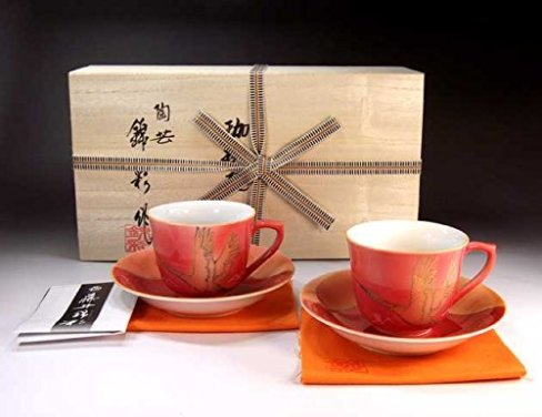 Japanese traditional crafts | Arita - cinnabarçÖ‹àAya auspicious Fuji crane picture coffee cup pair set | potter Fujii NishikiAya