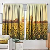 Elliot Dorothy Insulated Sunshade Curtain Landscape,Sun Flowers Field at Sunset Forest Background with Sun Oil Painting Image,Cream Yellow Green,Darkening and Thermal Insulating Draperies 42'x63'