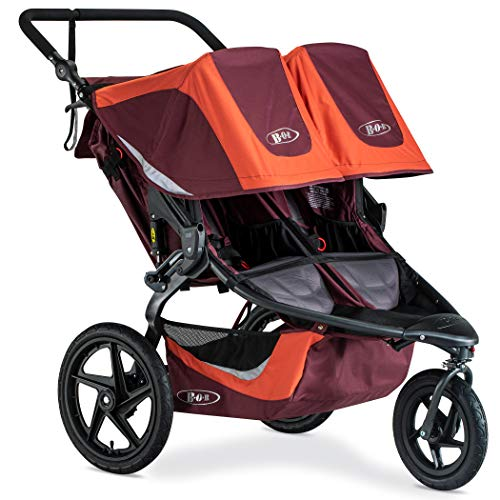BOB Revolution Flex 3.0 Duallie Jogging Stroller - Up to 100 Pounds - UPF 50Plus Canopy - Adjustable Handlebar - Easy Fold, Sedona Orange