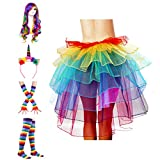 ECOSCO Women's Rainbow Wave Wig Long Gloves Socks 8Layered Tail Tutu Skirt Floral Headband Set (A)