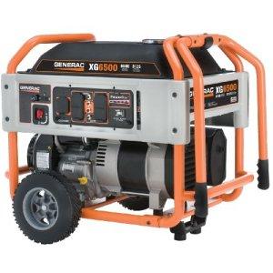 Generac XG6500 410cc OHVI Gas Powered Portable Generator with Wheel Kit