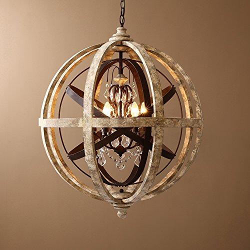 KunMai Rustic Retro Weathered Wooden Globe Metal Orb Crystal 5-Light Chandelier Pendant Light for Kitchen Dining Room Living Room