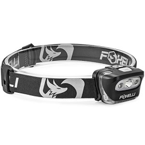 Foxelli Headlamp Flashlight – 165 Lumen, 3 x AAA Batteries Operated, Bright White Cree Led + Red Light, Perfect for Runners, Lightweight, Waterproof, Adjustable Headband, 3 AAA Batteries Included