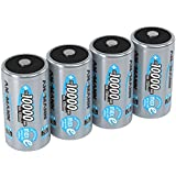 ANSMANN Rechargeable D Batteries 10.000mAh maxE ready2use NiMH Professional D Battery pre-charged Power Accu for flashlight (4-Pack)