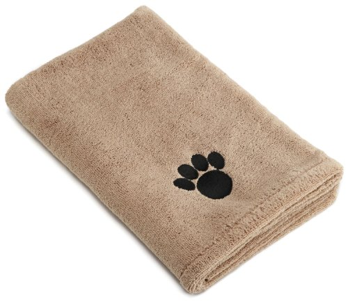 DII Bone Dry Microfiber Pet Bath Towel with Embroidered Paw Print, 44x27.5', Ultra-Absorbent & Machine Washable for Small, Medium, Large Dogs and Cats-Taupe