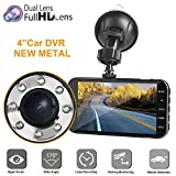 Dual Dash car cam, Mi YUOG FHD 1080P Camera Front and Rear with Night Vision,2 Channel 310° Wide Angle Lens 4' Screen Dashboard cam, G-Senor, Parking Monitor,Motion Detection.for Trucks uber Driver
