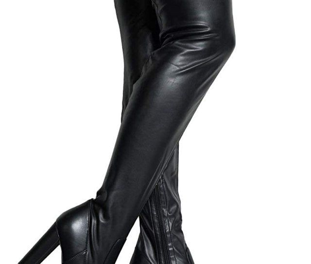 Amazon Com Azalea Wang Faux Leather Latex Block Heel Sexy Thigh High Boots Clothing