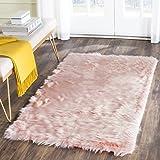 Safavieh Faux Silky Sheepskin FSS235G Pink Area Shag Rug (5' x 7')