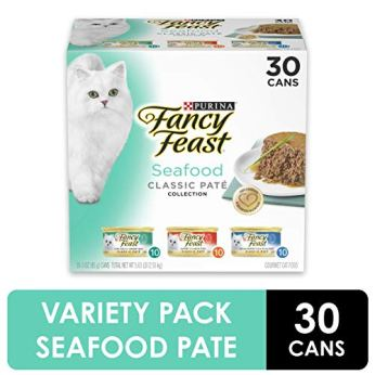 Purina-Fancy-Feast-Grain-Free-Pate-Wet-Cat-Food-Variety-Pack-Seafood-Classic-Pate-Collection-30-3-oz-Cans