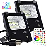 MELPO 15W LED Flood Light Outdoor, Color Changing RGB Floodlight with Remote, 120 RGB Colors, Warm White to Daylight Tunable, IP66 Waterproof, US 3-Plug (2 Pack)