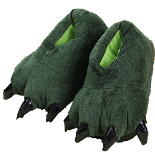 Adult Cute Plush Animal Paw Slippers Fuzzy Warm House Shoes Green L