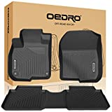 oEdRo Floor Mats Compatible for 2017-2019 Honda CR-V, Unique Black TPE All-Weather Guard Includes 1st and 2nd Row: Front, Rear, Full Set Liners