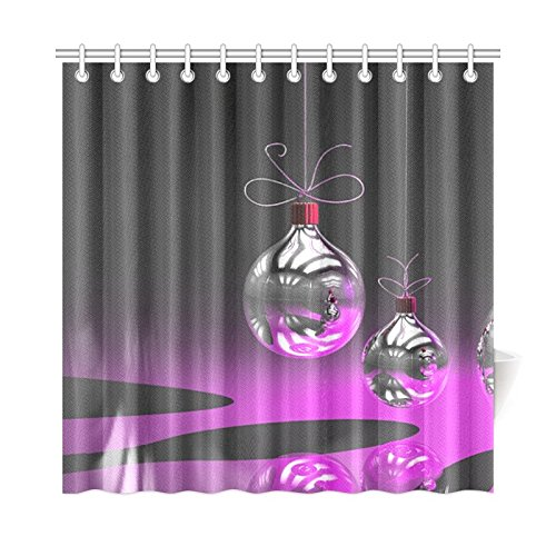 WIEDLKL Home Decor Bath Curtain Christmas Greeting Card Holidays Christmas Baubles Polyester Fabric Waterproof Shower Curtain for Bathroom, 72 X 72 Inch Shower Curtains Hooks Included