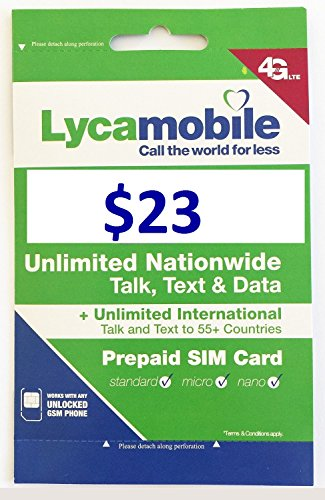 Lycamobile Preloaded Sim Card with $23 Plan Service Plan with Unlimited talk text and Data