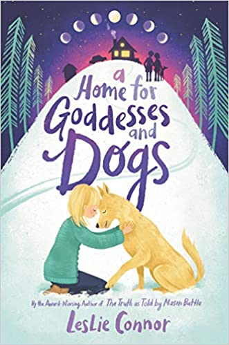 """A blonde girl and a yellow dog meet foreheads on the bottom of a snowy hill The title """"A Home for Goddesses and Dogs"""" takes up the rest of the hill. Two outlined figures and another dog stand at the top of the hill with another dog and a house. Evergreen trees surround the hill and in a purple sky the moon goes through its phases."""