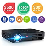 WOWOTO H8 3500 Lumens Mini Projector LED DLP 1280x800 Real Mini Home Theater Projector WXGA Support 3D 1080P HD Perfect for Entertainment Business Wireless Screen Share Android HDMI USBx2 RJ45 176'±