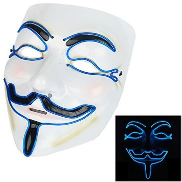 Scary Mask Halloween Light Up Mask EL Wire V for Vendetta Co