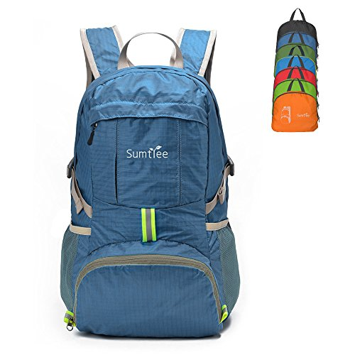 Sumtree 35L Ultra Lightweight Foldable Packable Backpack, Durable Hiking Daypack (Lake Blue)