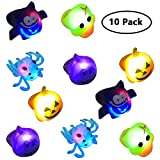 Jofan 10 Pack LED Jelly Halloween Rings Light Up Toys for Kids Halloween Gifts Treats Halloween Party Favors