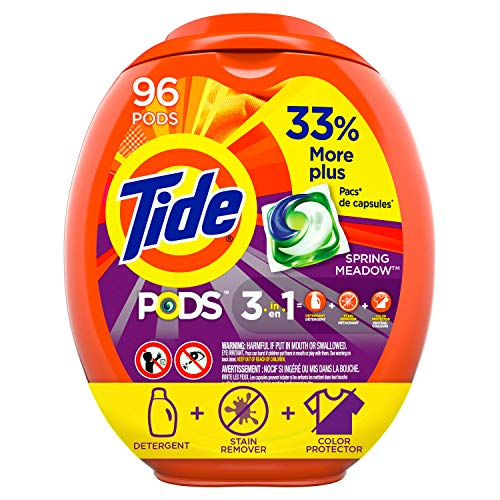 Tide PODS Laundry Detergent Liquid Pacs, Spring Meadow Scent, HE Compatible, 96 Count (Packaging May Vary)